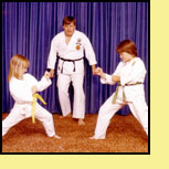 Sensei Don Warrener with daughters Danielle and Tracy in the late 70s